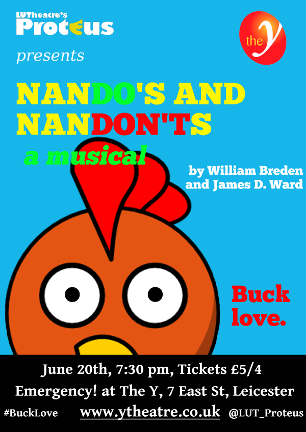 The poster for the performance of Nando's and Nandon'ts: A Musical at The Y 'Emergency' night